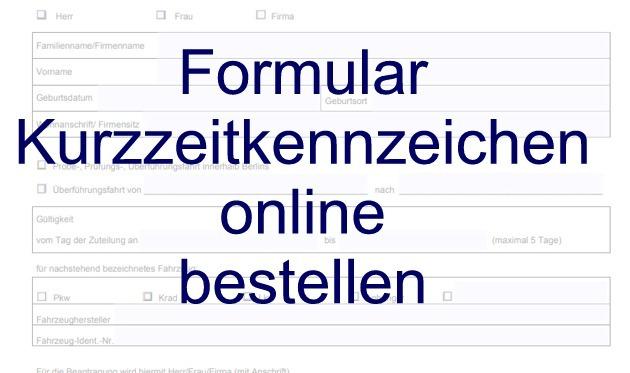 Kurzzeitkennzeichen online bestellen